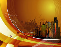 Building vector composition. Illustration over an orange background stock illustration
