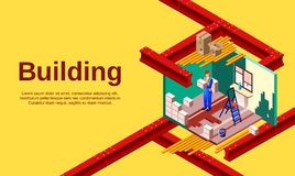 House building vector illustration cross section stock illustration