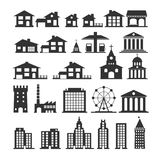 Urban and government silhouettes of buildings. Simple black sign houses. Royalty Free Stock Photos