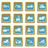 Building vehicles icons azure. Building vehicles icons set in azur color isolated vector illustration for web and any design Royalty Free Stock Photo