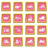 Building vehicles icons pink. Building vehicles icons set in pink color isolated vector illustration for web and any design Royalty Free Stock Photos