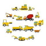 Building vehicles icons set in flat style. Isolated vector illustration Stock Images