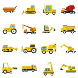 Building vehicles icons set in flat style. Isolated vector illustration Stock Photography