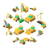 Building vehicles icons set, isometric style. Building vehicles icons set. Isometric cartoon illustration of 16 building vehicles icons for web vector illustration