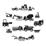 Building vehicles icons set, simple style. Building vehicles icons set. Simple illustration of 16 building vehicles vector icons for web Stock Photo