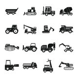 Building vehicles icons set, simple style. Building vehicles icons set. Simple illustration of 16 building vehicles vector icons for web Stock Image
