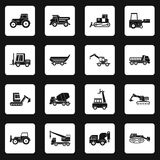 Building vehicles icons set squares vector. Building vehicles icons set in white squares on black background simple style vector illustration Royalty Free Stock Images