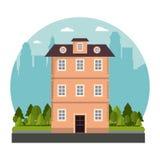 Building victorian style architecture skyline city design. Vector illustration vector illustration