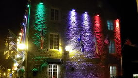 A building in Vieux-Québec. Beautiful architecture in Old Quebec city, nice colorful lights Stock Image