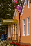 The building of the village administration in the village of Malevo Kaluga region (Russia). Royalty Free Stock Image