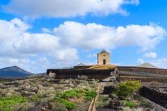 Building in vineyard landscape of Yaiza region Royalty Free Stock Image