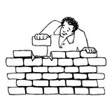 Building a wall. Illustration of a man building a wall, black and white version. Useful also for educational or coloring books for kids. You can find other b/w Royalty Free Stock Image