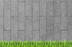 Building wall and green grass background Royalty Free Stock Photography