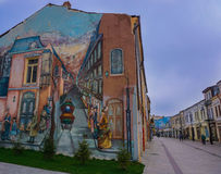 Building wall realistic perspective painting in Craiova Old Center Romania royalty free stock photos