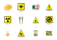 Building warning signs Stock Photo