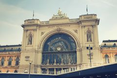 Budapest Keleti railway station viewed from the west. The building was designed in eclectic style and constructed between 1881 and 1884 as one of the most royalty free stock image