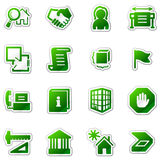 Building web icons, green sticker series Royalty Free Stock Photo