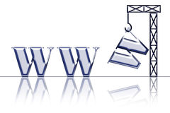 Building web site. Crane caring the last w letter from the world wide web; creating a website; your site is under construction Stock Photo