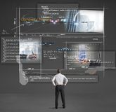 Building a website. Businessman shows a presentation of a company website royalty free stock photo
