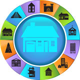 Building Wheel. Wheel with 12 different styles of building structures Vector Illustration
