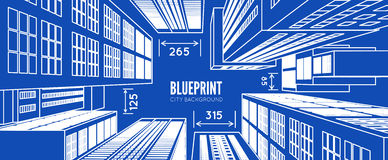 Building wireframe. 3d render city. Vector blueprint illustration Royalty Free Stock Photography