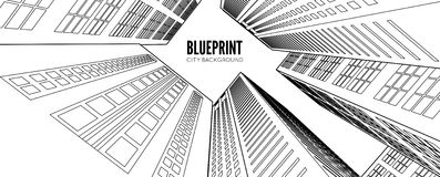 Building wireframe. 3d render city. Royalty Free Stock Images