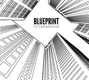 Building wireframe. 3d render city. Stock Images