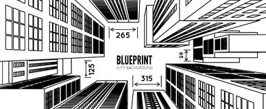 Building wireframe. 3d render city. Vector blueprint illustration Royalty Free Stock Image