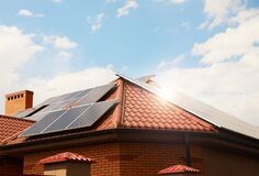 Free Building With Installed Solar Panels. Alternative Energy Source Stock Image - 190440131