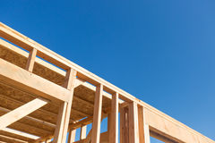 Building Wood Framing Abstract At Construction Site. Royalty Free Stock Image