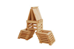 Building from wooden blocks Royalty Free Stock Photography