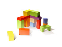 Building from wooden blocks Royalty Free Stock Photo