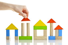 Building with wooden blocks royalty free stock image