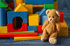 Building from wooden colourful childrens blocks Stock Photography