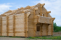 Building of wooden house Stock Images