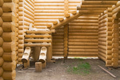 Building of wooden house Stock Photos