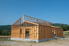 Building a wooden house Stock Photo