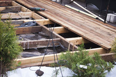 Building a wooden terrace Stock Photos