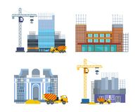 Building work process with houses and construction machines. City, house. Building work process with houses and construction machines. Urban construction. City Stock Image