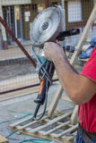 Building worker with Angle Grinder Royalty Free Stock Photos