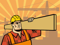 Building worker with board Stock Image