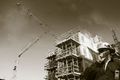 Building worker inside construction site Stock Photo