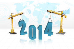 Building 2014 with world map bakcground. Building the new year 2014 with blue world map background stock illustration