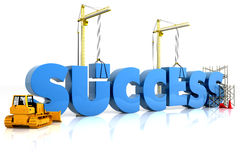Building your success. Building SUCCESS word, representing business development Stock Photo