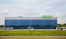 Building of the Zhukovsky International Airport in Moscow from the side of the runway royalty free stock images
