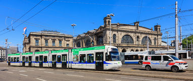 Building of the Zurich main railway station, traffic in front of it. Zurich, Switzerland - 18 June, 2017: building of the Zurich main railway station, traffic in royalty free stock image