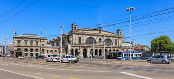 Building of the Zurich main railway station, traffic in front of it. Zurich, Switzerland - 18 June, 2017: building of the Zurich main railway station, traffic royalty free stock photos