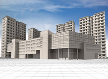 Buildings. Abstract 3D modern architecture: wire-frame of office building and apartment houses Royalty Free Stock Image