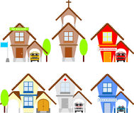 Buildings. Various house icons on white background Royalty Free Stock Image