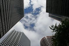 Buildings. Looking up at a tall buildings in the San Francisco financial district Stock Photography